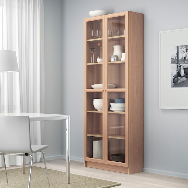 BILLY / OXBERG Bookcase with glass door, white stained oak veneer/glass, 80x30x202 cm