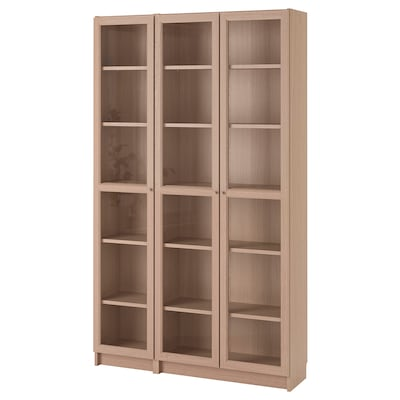 BILLY / OXBERG Bookcase with glass-doors, white stained oak veneer, 120x30x202 cm