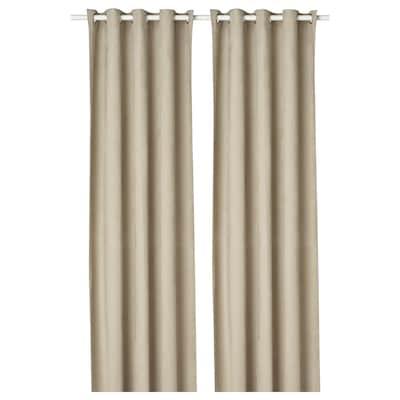 BIRTNA Block-out curtains, 1 pair, beige, 145x300 cm