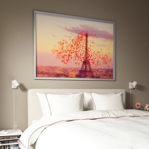 BJÖRKSTA picture with frame Eiffel tower/aluminium-colour 100 cm 140 cm