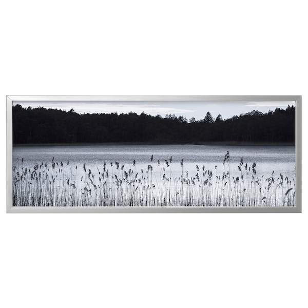 BJÖRKSTA Picture with frame, Woodland lake/aluminium-colour, 140x56 cm