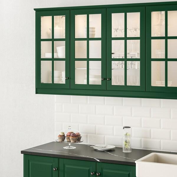 BODBYN Glass door, dark green, 40x80 cm