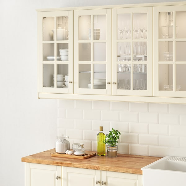 BODBYN Glass door, off-white, 30x60 cm