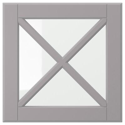 BODBYN Glass door with crossbar, grey, 40x40 cm