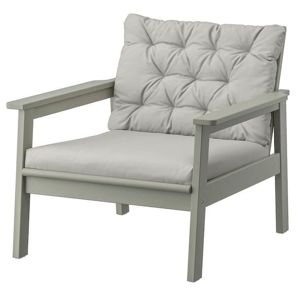 BONDHOLMEN Armchair, outdoor, grey stained/Kuddarna grey