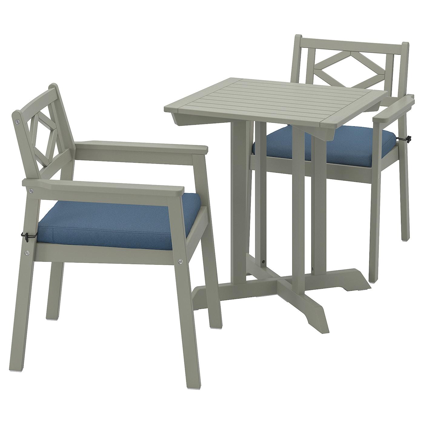 Bondholmen Table 2 Chairs W Armrests Outdoor Grey Stained Froson Duvholmen Blue Ikea