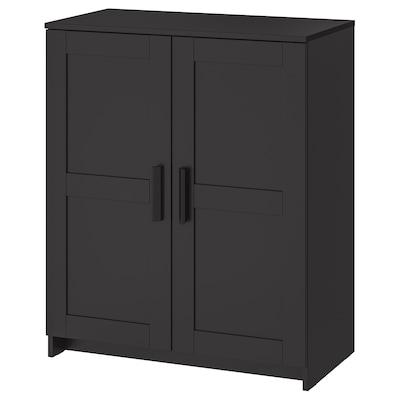 BRIMNES خزانة مع أبواب, أسود, 78x95 سم