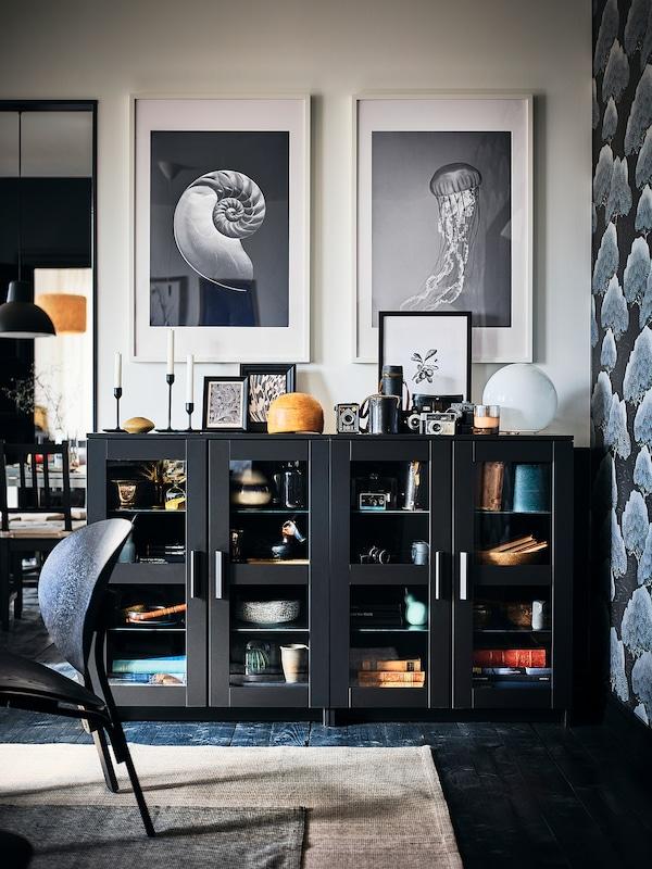 BRIMNES Cabinet with doors, black, 78x95 cm