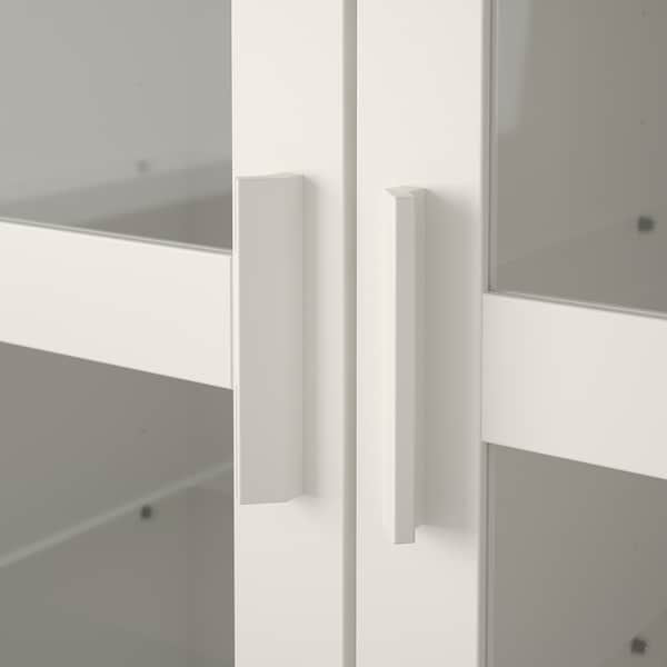 BRIMNES خزانة بباب زجاج, أبيض, 80x190 سم