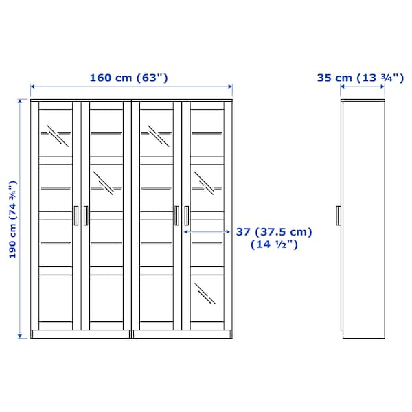 BRIMNES storage combination w glass doors black 160 cm 35 cm 190 cm