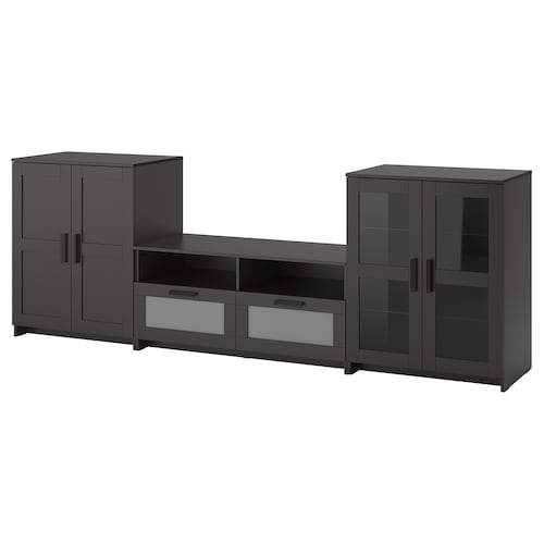 BRIMNES TV storage combination/glass doors black 276 cm 41 cm 95 cm