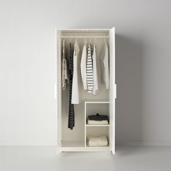 BRIMNES Wardrobe with 2 doors, white, 78x190 cm