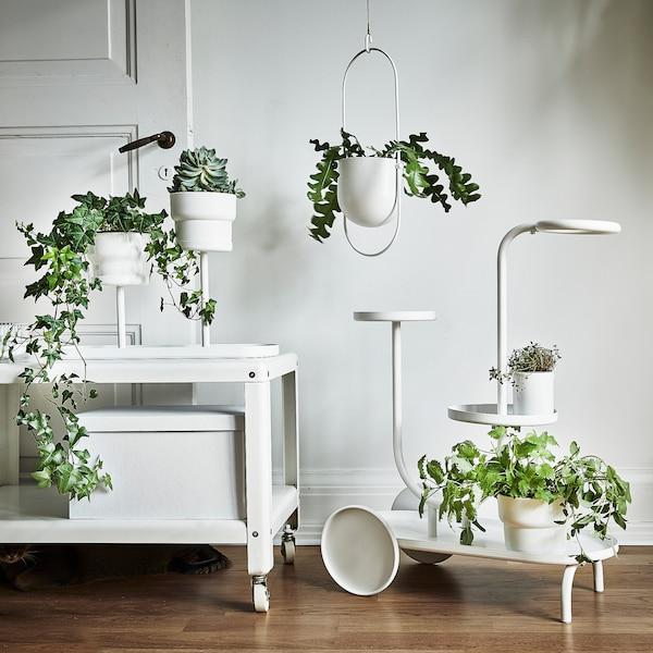CHILISTRÅN Hanging planter, in/outdoor white, 12 cm