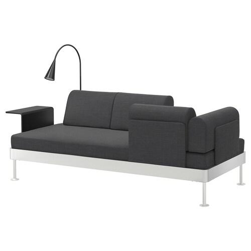 DELAKTIG 3-seat sofa w side table and lamp Hillared anthracite 79 cm 224 cm 84 cm 45 cm 20 cm 200 cm 80 cm 45 cm 10 cm 1.9 m 3.4 W