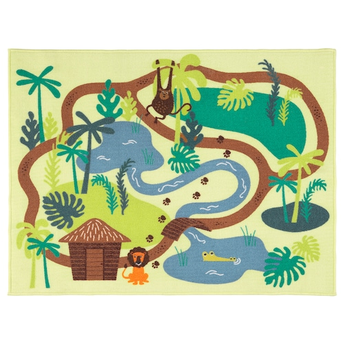 DJUNGELSKOG rug, low pile jungle/trees 100 cm 133 cm 1.33 m²