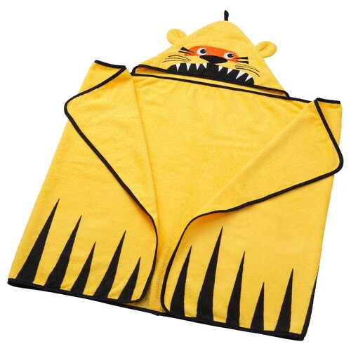 DJUNGELSKOG towel with hood tiger/yellow 140 cm 70 cm