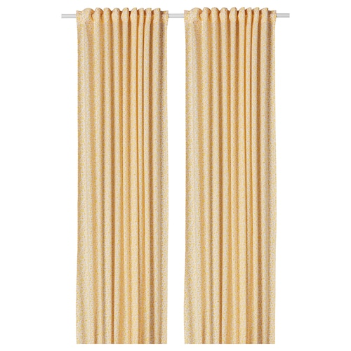 DORTHEA curtains, 1 pair white/yellow 300 cm 145 cm 0.83 kg 4.35 m² 2 pieces