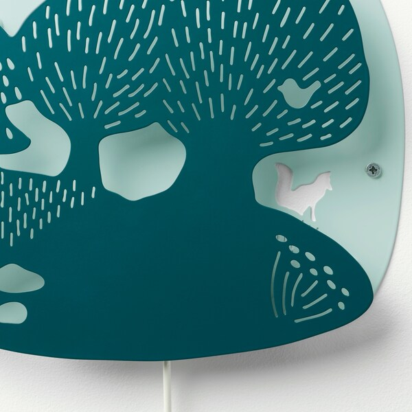 DUGGREGN LED wall lamp, forest dark turquoise/light turquoise