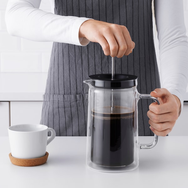 EGENTLIG coffee/tea maker double-walled/clear glass 21 cm 0.9 l