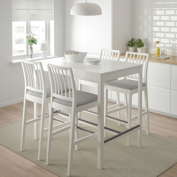 Ekedalen Bar Table And 4 Bar Stools White Orrsta Light Grey Ikea