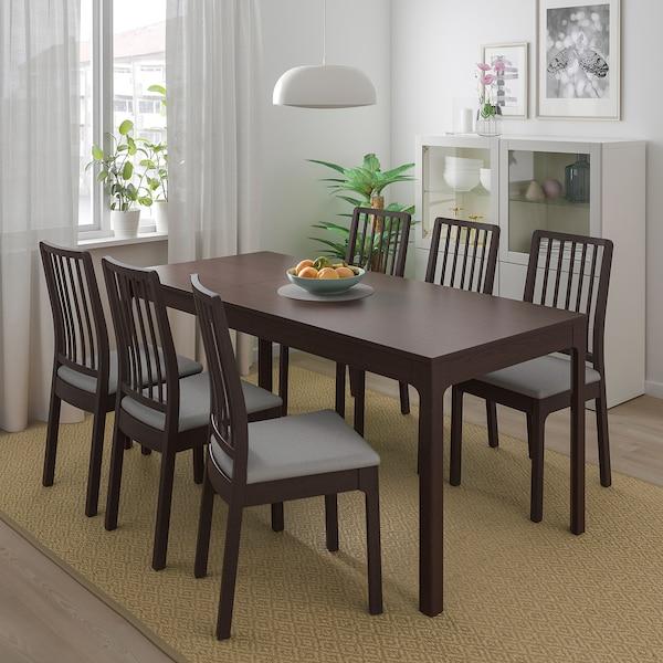 EKEDALEN / EKEDALEN Table and 4 chairs, dark brown/Orrsta light grey, 120/180 cm