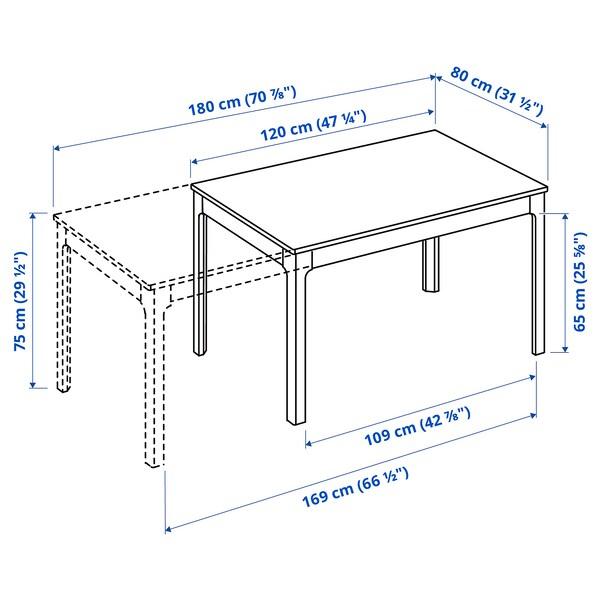 EKEDALEN / LEIFARNE Table and 4 chairs, dark brown/white, 120/180 cm