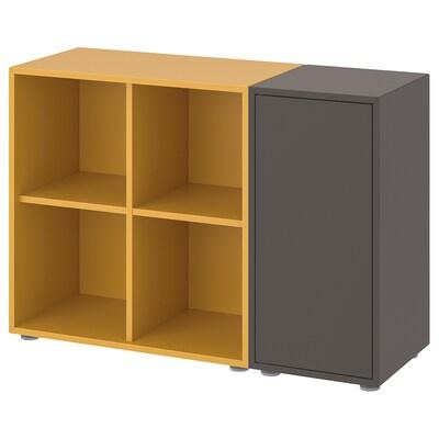 EKET Cabinet combination with feet, dark grey/golden-brown, 105x35x72 cm