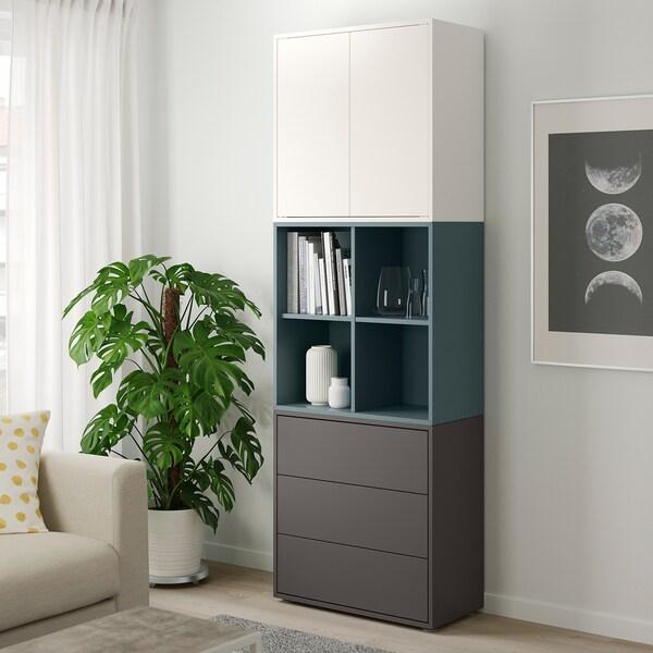 EKET Cabinet combination with feet, white/grey-turquoise dark grey, 70x35x212 cm