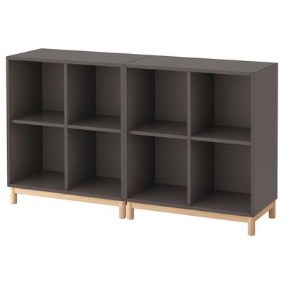EKET Cabinet combination with legs, dark grey, 140x35x80 cm