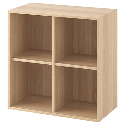 EKET Cabinet with 4 compartments, white stained oak effect, 70x35x70 cm