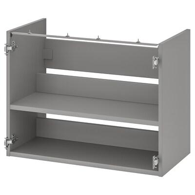 ENHET خزانة قاعدة لحوض مع رف, رمادي, 80x40x60 سم
