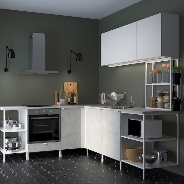 ENHET مطبخ زاوية, أبيض/تأثيرات ماديّة. أبيض
