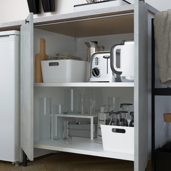 ENHET مطبخ, فحمي/تأثيرات ماديّة., 243x63.5x222 سم