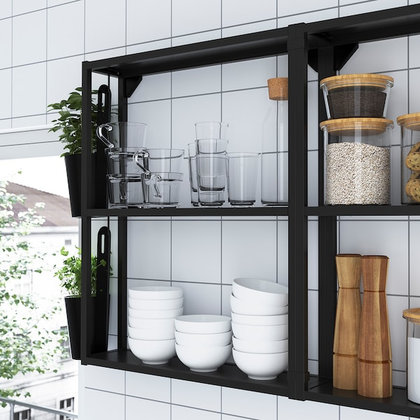 ENHET مطبخ, فحمي/تأثيرات ماديّة., 243x63.5x241 سم