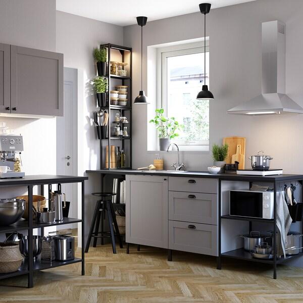 ENHET مطبخ, فحمي/رمادي هيكل, 243x63.5x241 سم