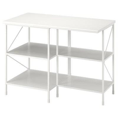 ENHET Kitchen isl storage comb w seating, white, 123x63.5x91 cm