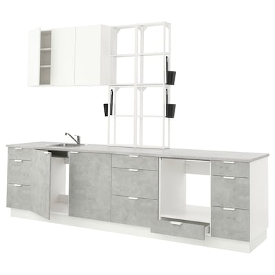 ENHET Kitchen, white/concrete effect white, 323x63.5x241 cm