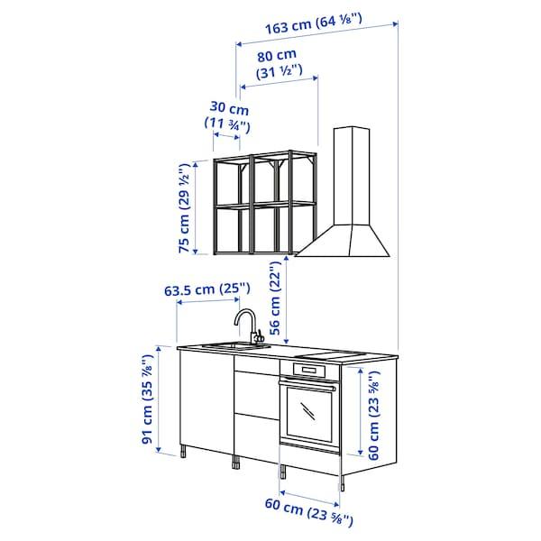ENHET مطبخ, أبيض/تأثيرات ماديّة., 163x63.5x222 سم