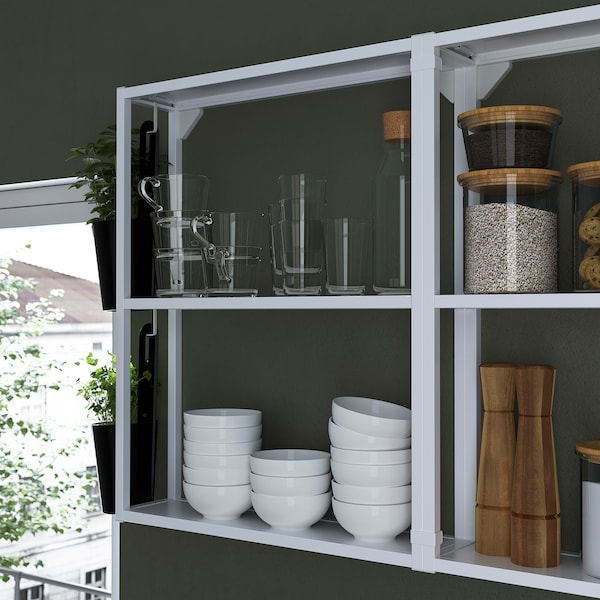 ENHET مطبخ, أبيض/تأثيرات ماديّة., 243x63.5x241 سم
