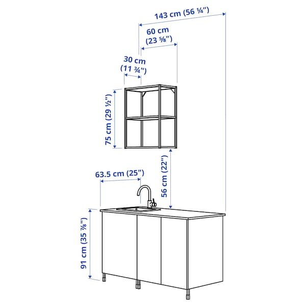 ENHET مطبخ, أبيض/تأثيرات ماديّة., 143x63.5x222 سم