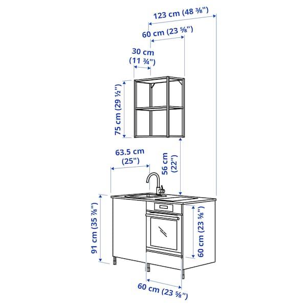 ENHET Kitchen, white/grey frame, 123x63.5x222 cm