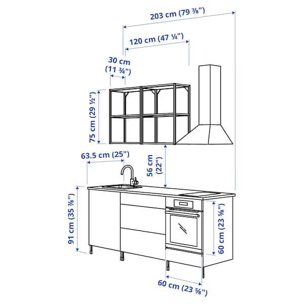 ENHET مطبخ, أبيض/رمادي هيكل, 203x63.5x222 سم