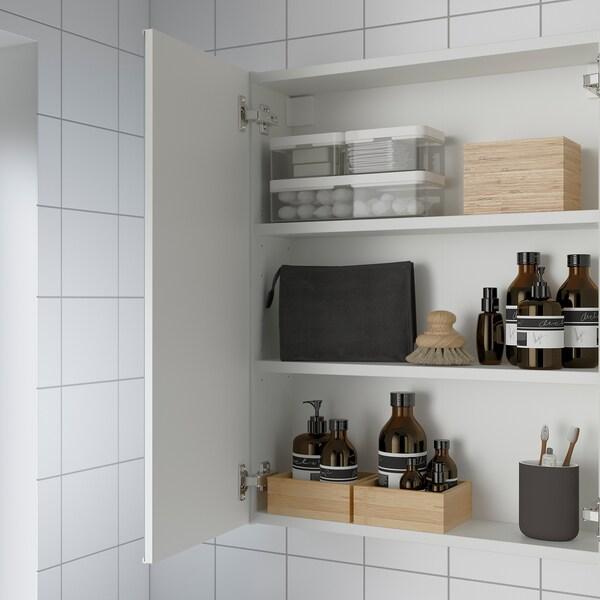 ENHET خزانة بمرآة مع بابين, أبيض, 60x15x75 سم