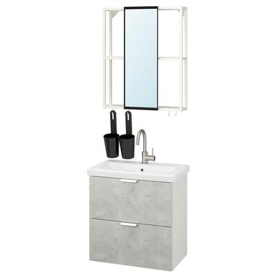 ENHET / TVÄLLEN Bathroom furniture, set of 13, concrete effect/white Glypen tap, 64x43x65 cm