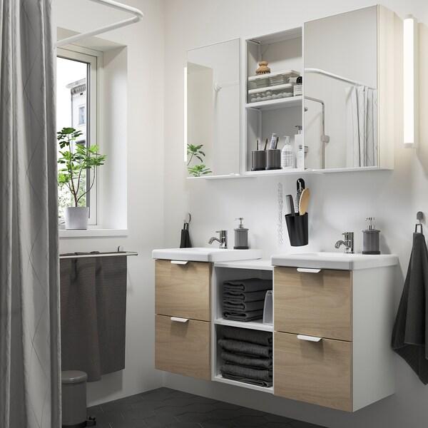 ENHET / TVÄLLEN أثاث حمام، طقم من 22 قطعة, شكل السنديان/أبيض حنفية Pilkån, 124x43x65 سم
