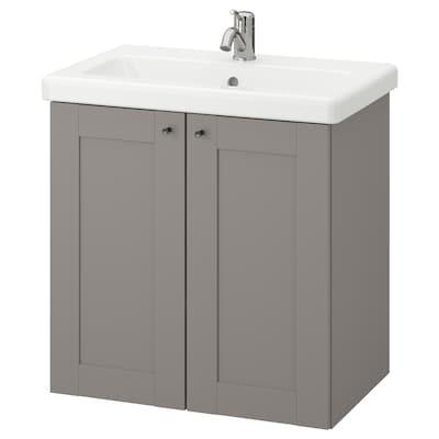 ENHET / TVÄLLEN خزانة الحوض مع بابين, رمادي هيكل/رمادي حنفية Lillsvan, 64x43x65 سم