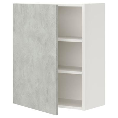 ENHET خزانة حائط مع رفين/باب, أبيض/تأثيرات ماديّة., 60x30x75 سم