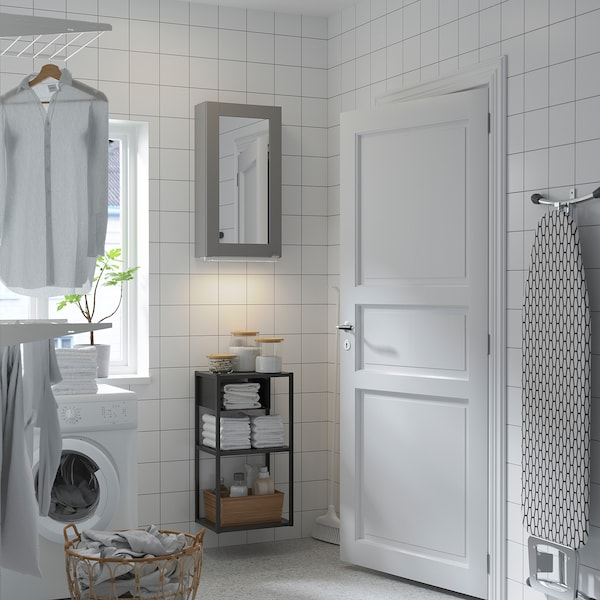ENHET تشكيلة تخزين حائطي مع باب مرآة, فحمي/رمادي هيكل, 40x30x150 سم