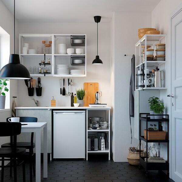 ENHET تشكيلة تخزين حائطية, أبيض/تأثيرات ماديّة., 80x30x150 سم