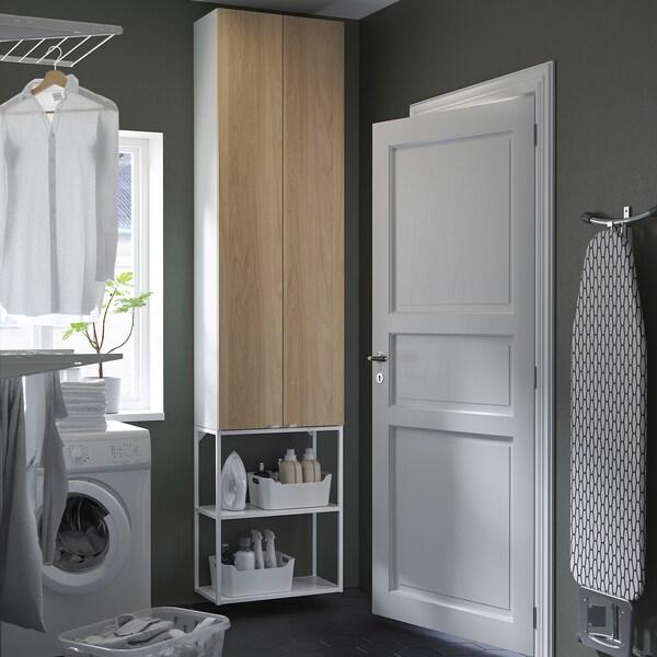 ENHET تشكيلة تخزين حائطية, أبيض/شكل السنديان, 60x30x255 سم